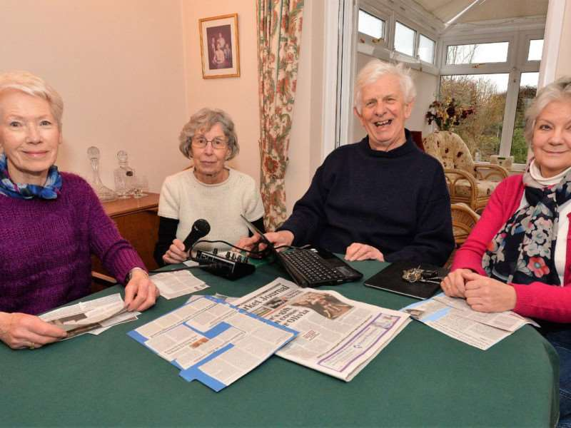 Volunteer voices: Some of Newmarket Newtalk's volunteers, from left, Jan Davidson, Jan Rigby, Peter Soanes, and Sue Calvert