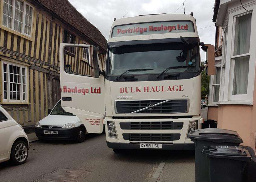 A haulage lorry trapped in Water Street, Lavenham.