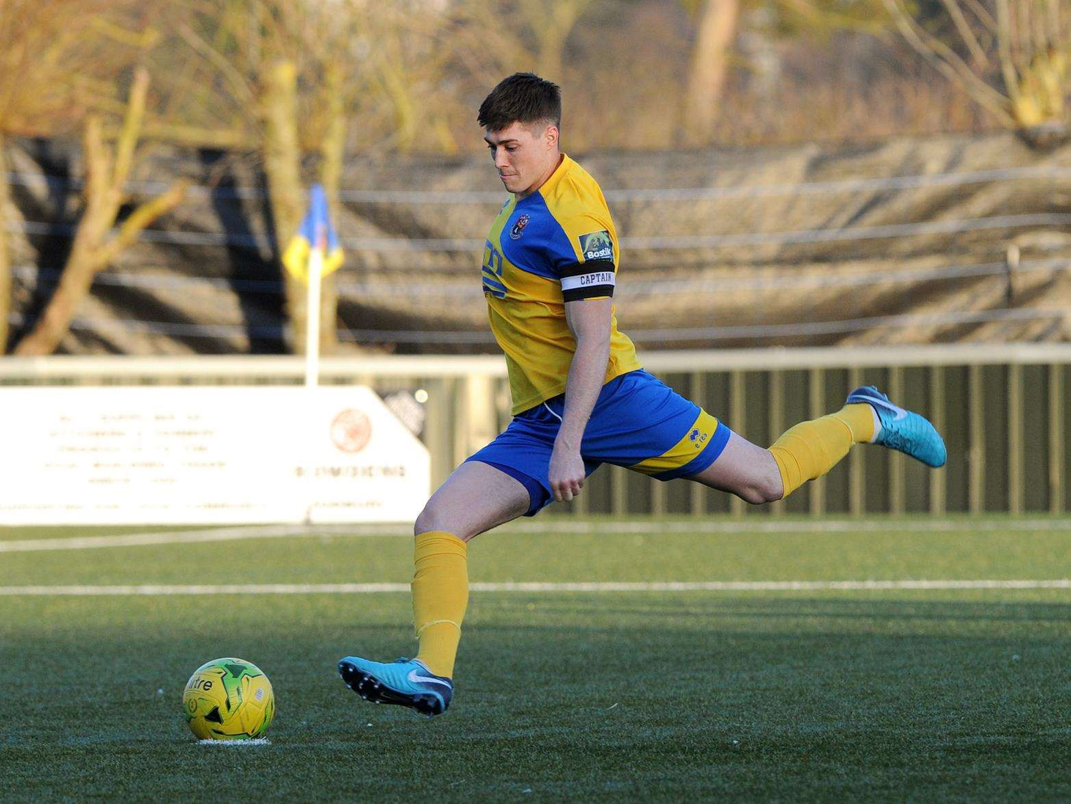 CAPTAIN'S JOB: Joe Whight took the highly pressured penalty to take the lead for AFC Sudbury (Picture: Mecha Morton)