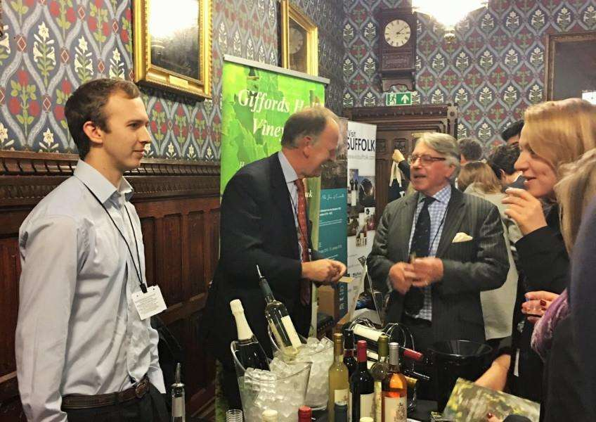 Giffords Hall Vineyard's stall was very popular with MPs at the South Suffolk Food Show at Parliament. ANL-151125-120447001