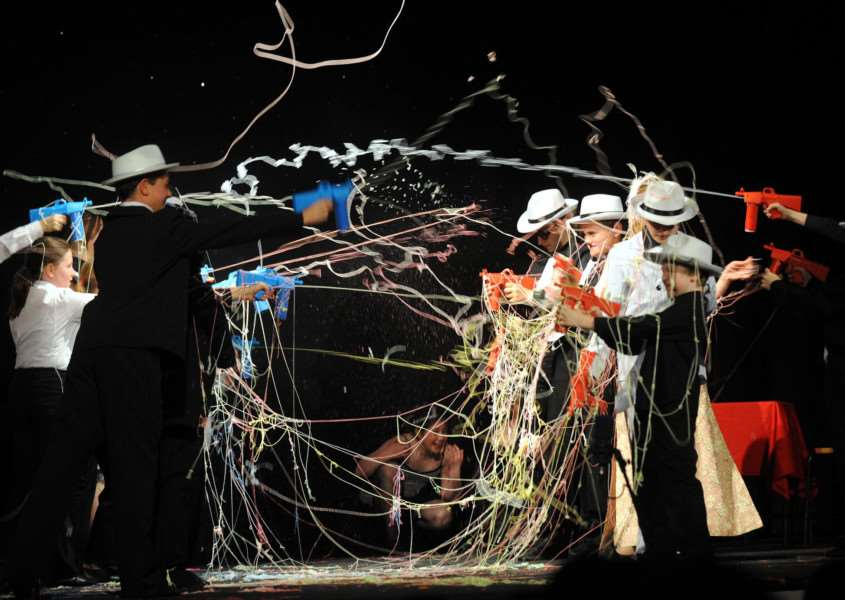 A 'gunfight' erupts in a Stagecoach production of Bugsy Malone ANL-160531-102943009