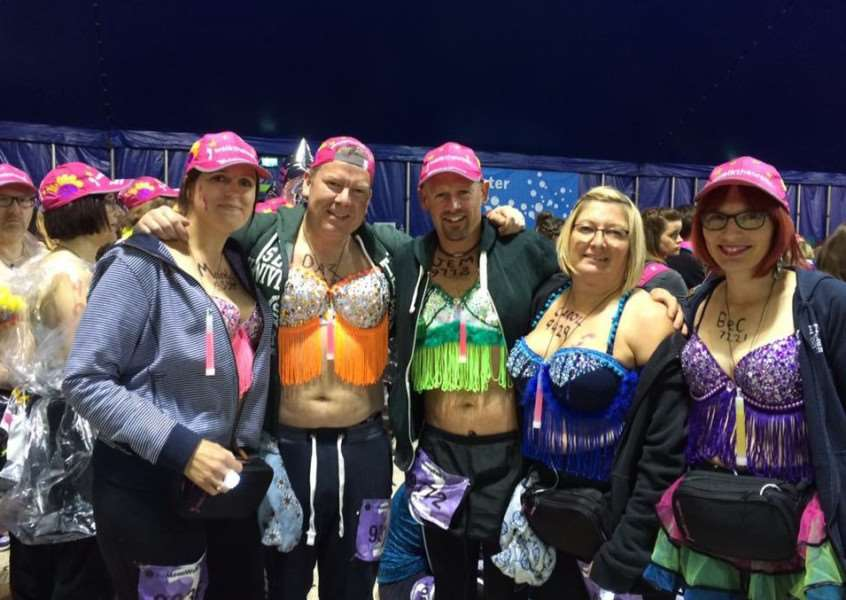 Sudbury Steppers complete the London MoonWalk.'From left: Mandy Theobald, Darren Theobald, Jem Smith, Carol Wadley-Smith, Rebecca Bain ANL-160525-124223001