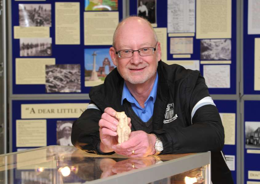 Long Melford Heritage Centre founder John Nunn with a Roman statuette find. ANL-160425-121602009