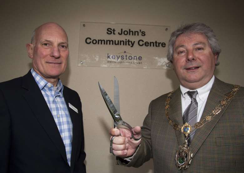 Official opening of new St John's Community Centre, in Mildenhall. Cllr Andy Drummond, chair of Forest Heath District Council, with Ketstone Trustee Clive Wadham-Smith ANL-150317-231731009