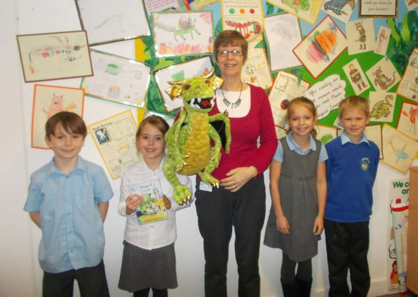 Author Gillian Overitt with some of the pupils at Westfield Primary Academy during her visit