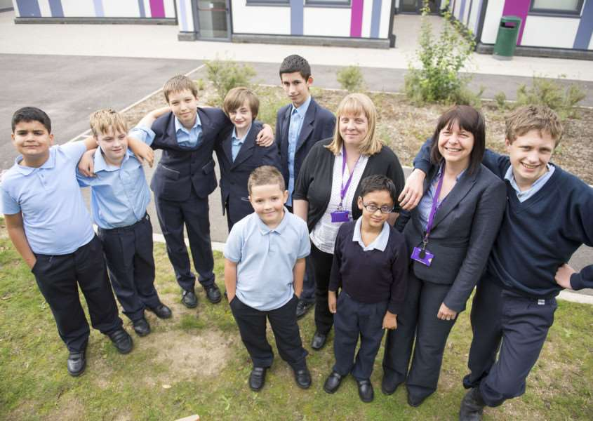 Churchill Special Free School's first Ofsted report s deemed it to be outstanding. 'Headteacher Georgina Ellis is pictured with deputy head Kirsty Richards and pupils.' Picture Mark Westley ANL-150809-170121009