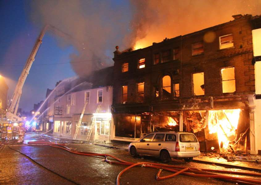 The scene in Market Hill at the height of the fire last night