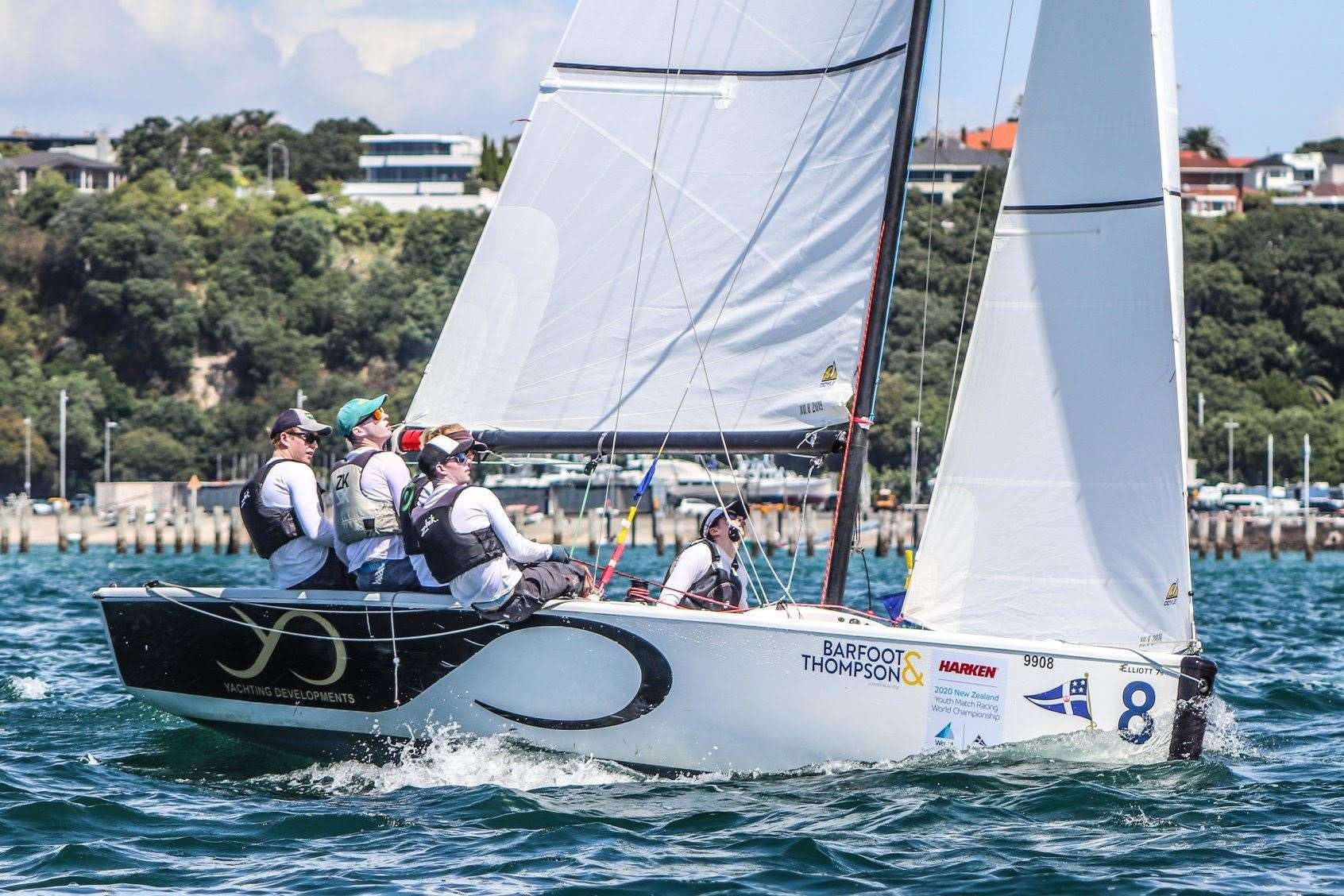 Patrick Bray and his Absolute match racing team on the water in New ZealandPicture: Andrew Delves (33492007)