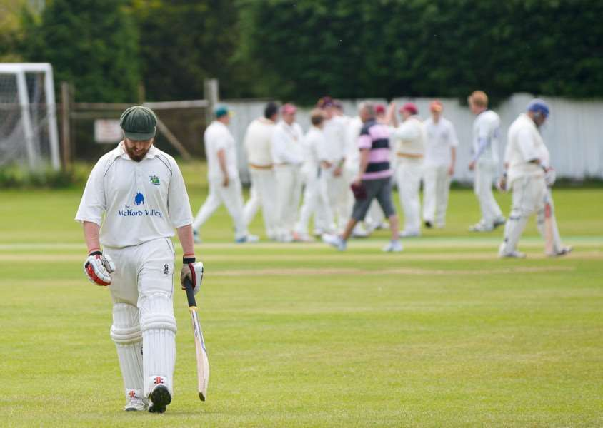 CAUGHT OUT: Long Melford II's Cameron Stace leaves the field after being dismissed early on during their 160-run victory over Sudbury III on Saturday