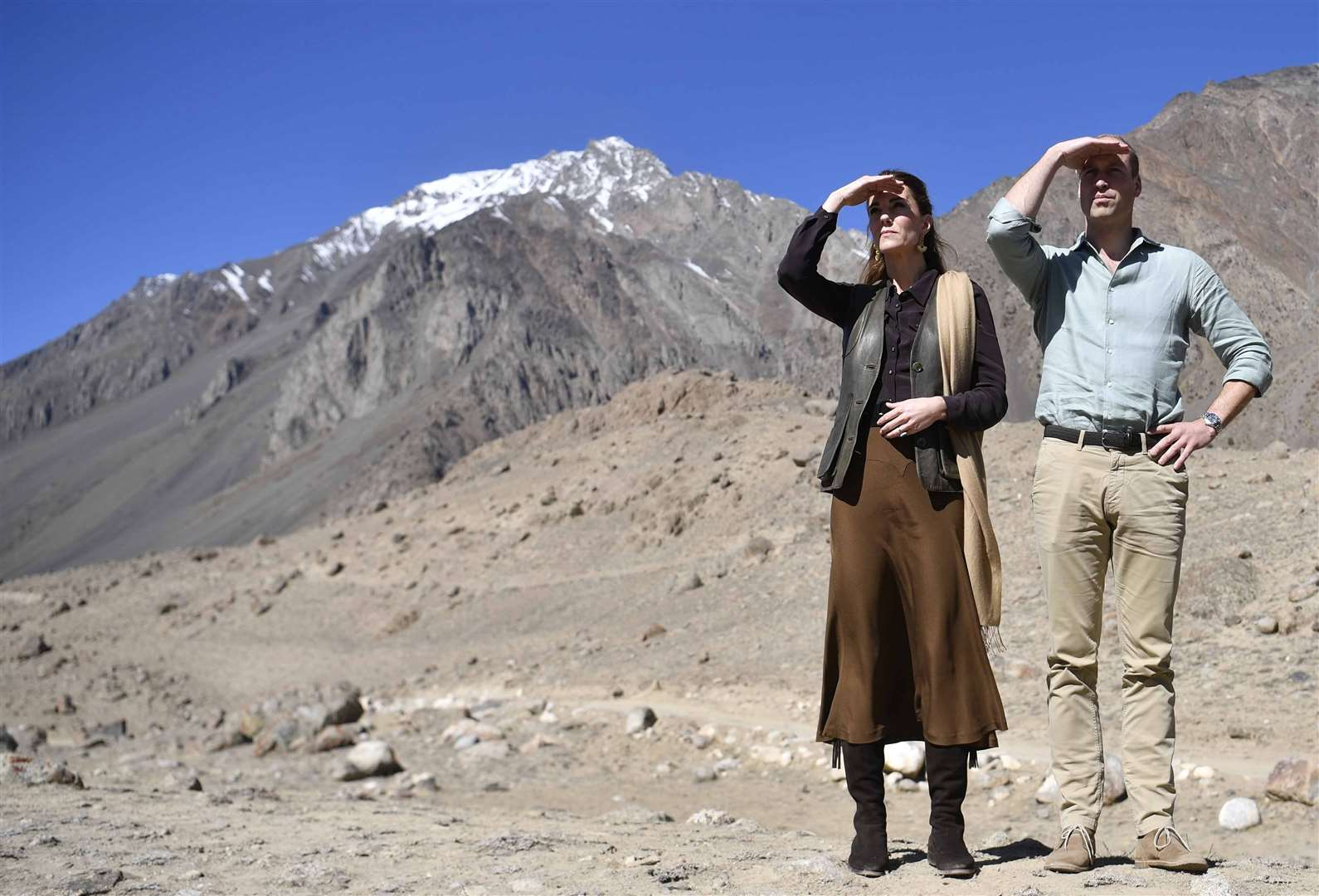 William and Kate saw climate change in progress during a visit to the Chiatibo glacier in Pakistan (Neil Hall/PA)