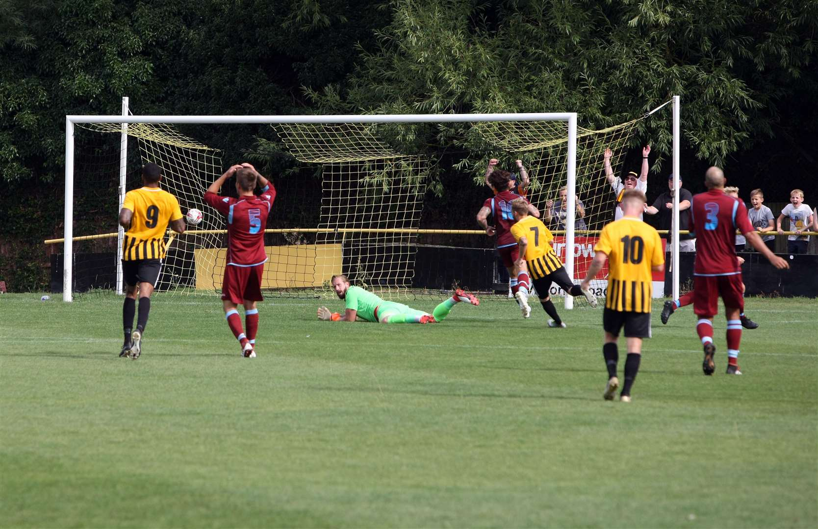 GOAL! Scott Chaplin scores Stowmarket Town's second against Thetford Town Picture: Phil Morely (3433020)