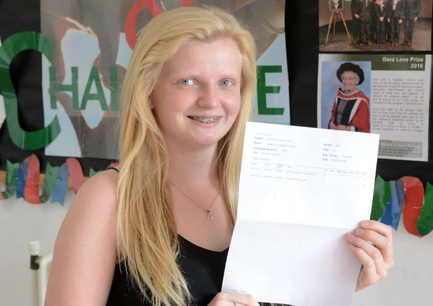 Jemima Gedny with her results