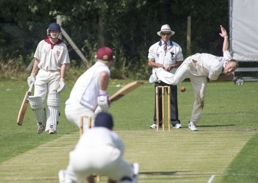 Russ Davis bowling for Haverhill during their defeat to Braintree. ''Picture: Mark Westley