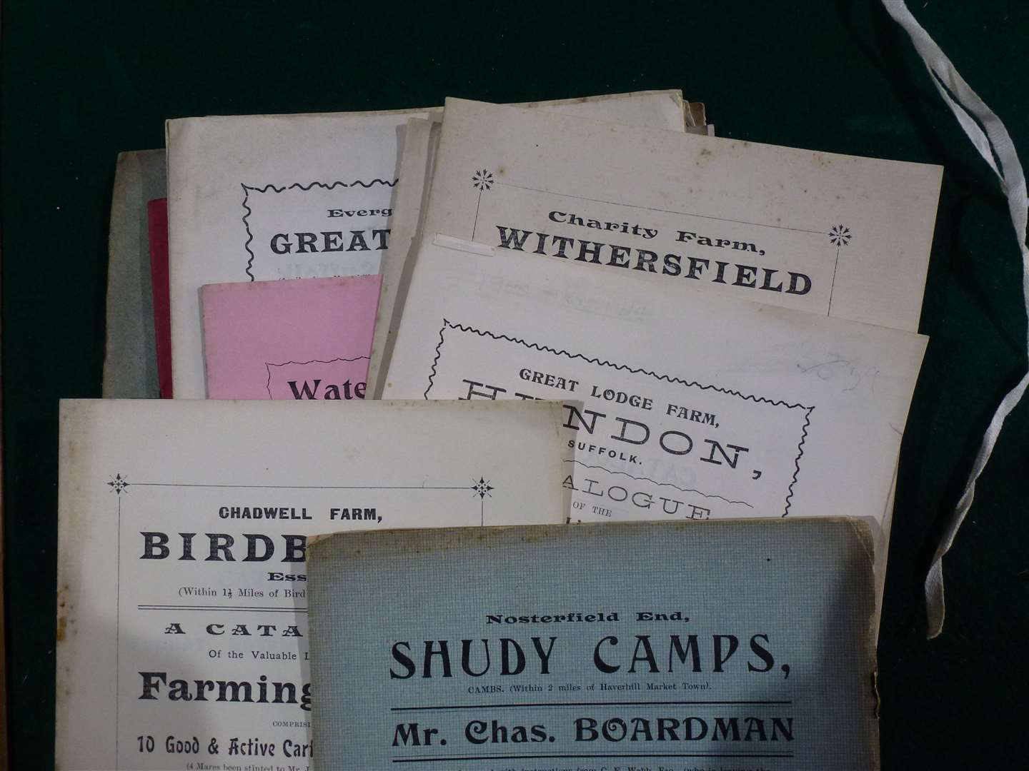Some of the old catalogues from sales conducted by Chas. Boardman & Sons. Picture by Neil Lanham