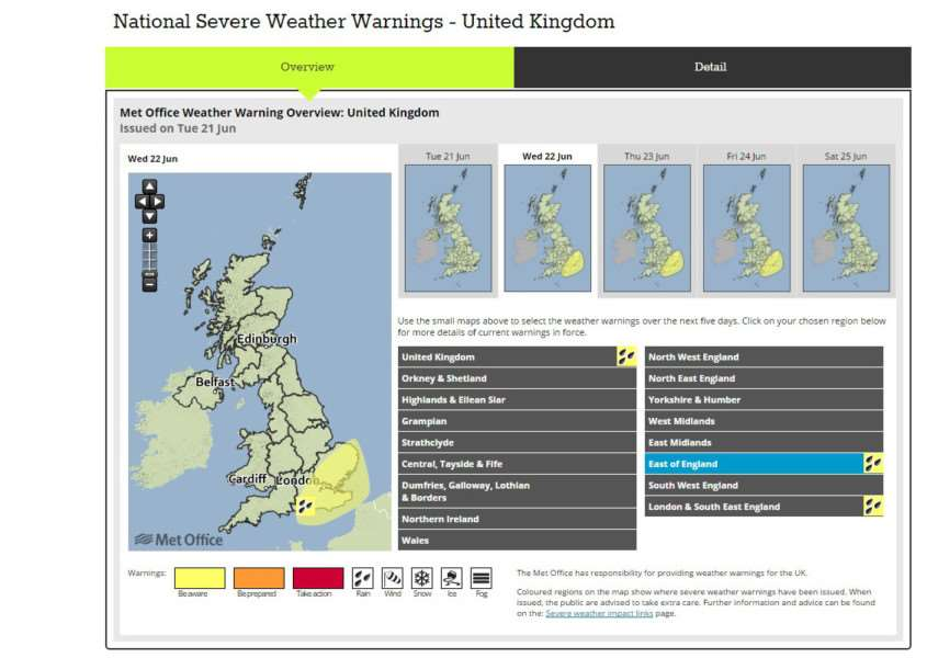 The Met Office weather warning map of today's risk area