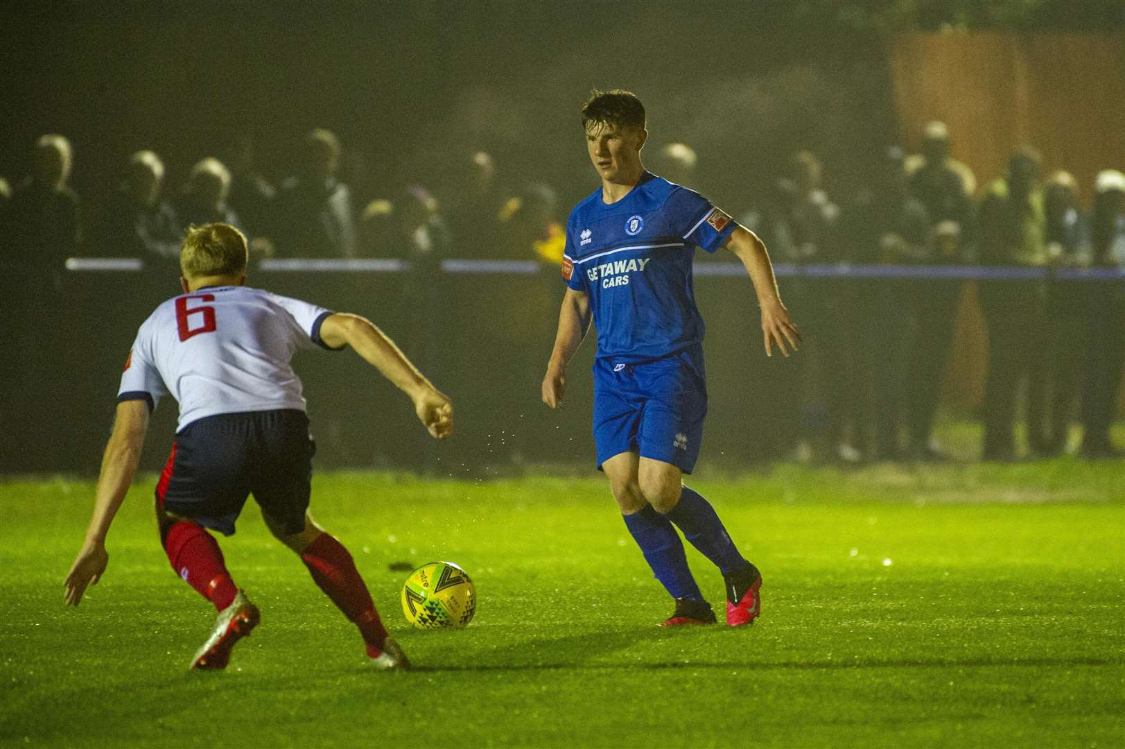 Ipswich Town teenager Connor O'Reilly on his Bury Town debut, against Witham Town. Picture: Neil Dady