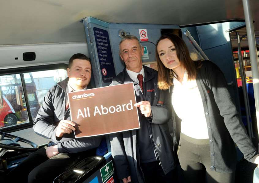 Chambers Bus operator in Sudbury is running a trainmen programme as part of a recruitment scheme''Pictured: Lloyd Kyzer (Just passed his PCV driving test), Instructor Kev White and Natalia Sowa (Bus Driver)'''PICTURE: Mecha Morton