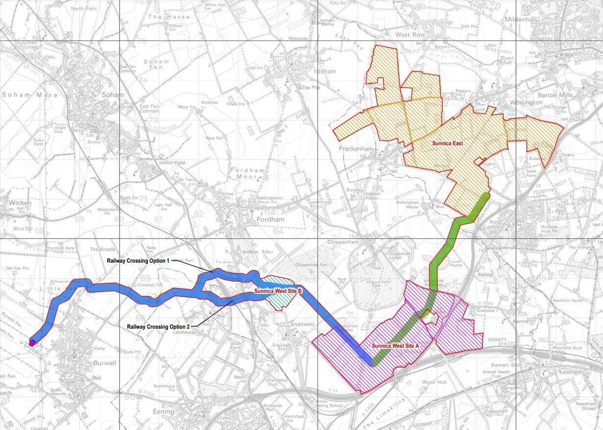 The three sites just outside Newmarket where it is proposed the solar farm will be