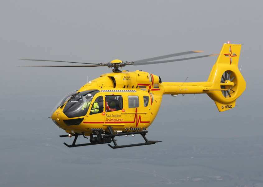 East Anglian Air Ambulances EC145 T2 helicopter ANL-150210-141636001