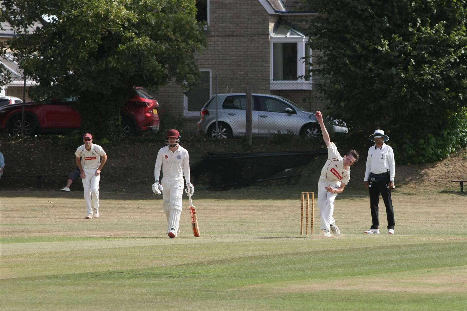 Sudbury v Swardeston cricket action. Patrick SSaddler bowling for Sudbury.. (15968446)