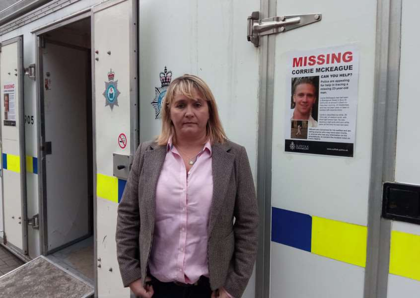 Corrie McKeague's mum Nicola Urquhart outside the police pod