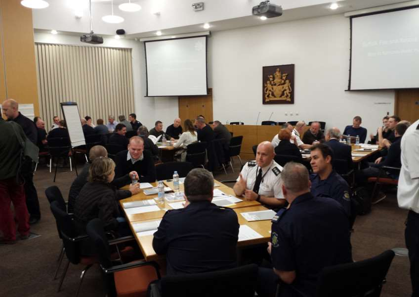 The first public consulation on plans to cut Suffolk Fire Service's budget took place in Bury St Edmunds on Tuesday evening. ANL-160801-113043001