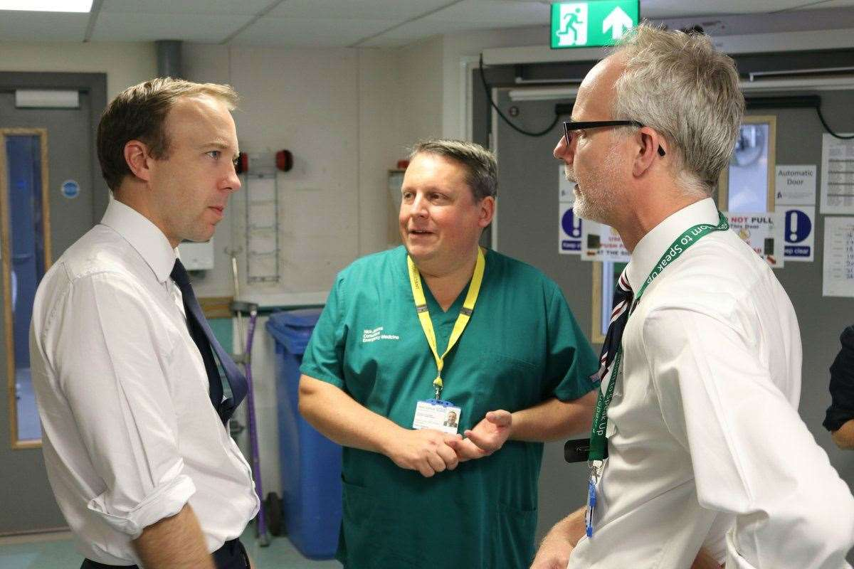 Matt Hancock during his visit to West Suffolk Hospital where he delivered his first speech as Health Secretary. Picture: @MattHancock.