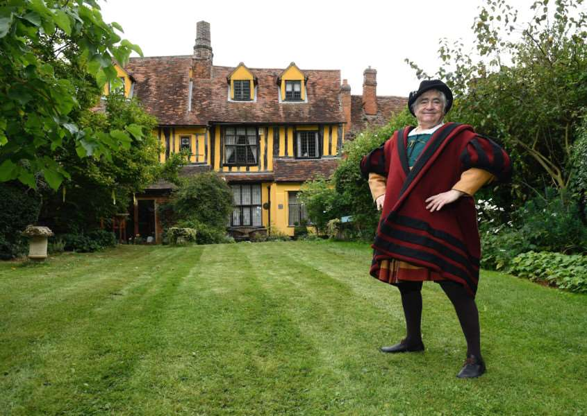 Lavenham, Suffolk. Lavenham Open Gardens event to raise money for St Nicholas Hospice. Pictured is Neil Warden as Ned the Wool Merchant the original owner of his house on Water Lane. ''Picture: MARK BULLIMORE