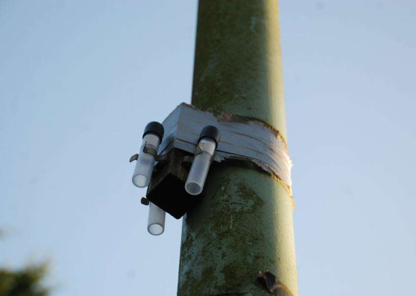 Lamp post mounted pollution monitoring equipment in Great Barton