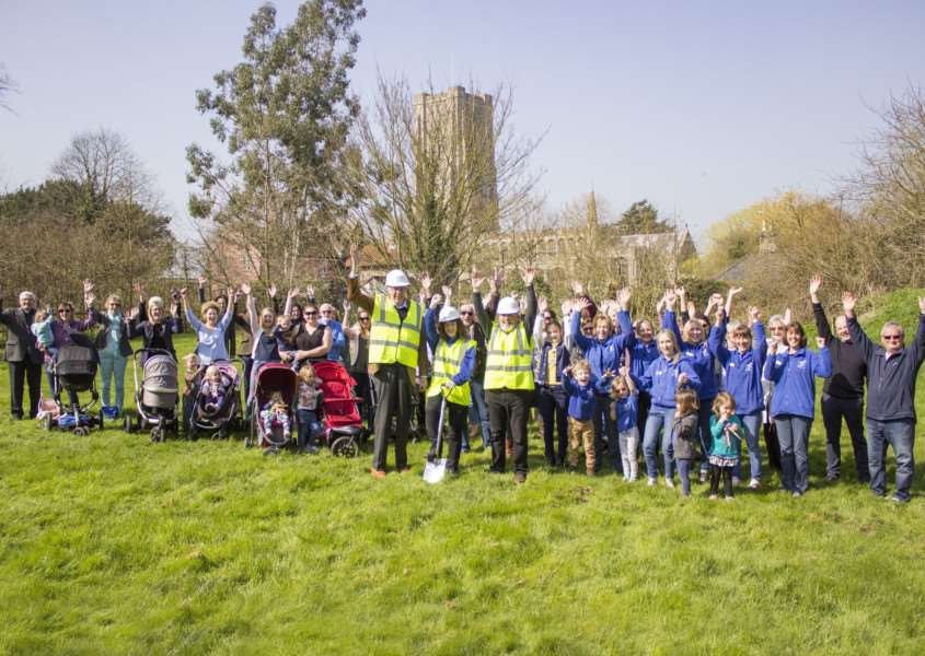 Villagers unite to celebrate the construction starting on Lavenham's new preschool.