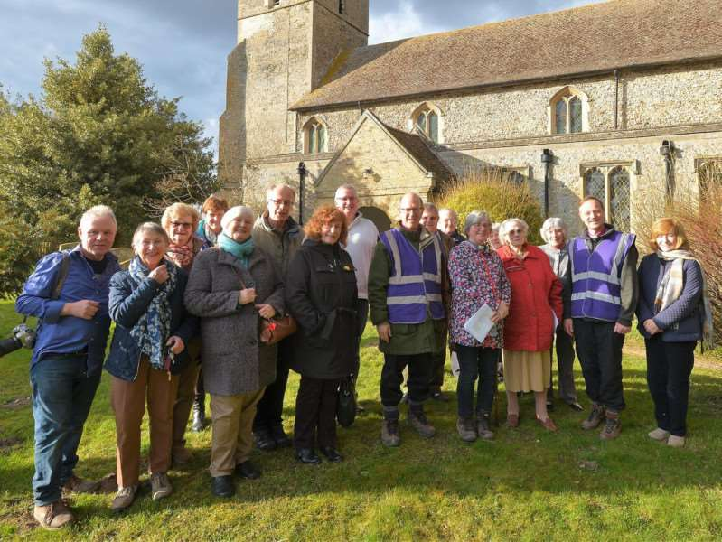 The bishops with the Rev Canon Sandie Barton and Worlington and Freckenham parishioners