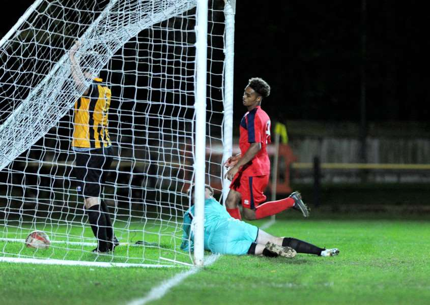 ON THE SCORESHEET: Kyron Andrews wheels away after scoring in the 2-1 defeat at Stowmarket Town on Tuesday