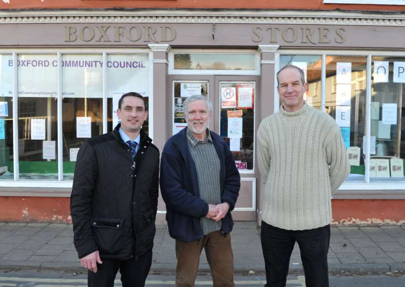 Residents and councillors have set up a fund to keep the village post office open even though the village stores has shut while new owners are found.''Pictured: Alan Leeder (Boxford Community Council), Richard Gates (Sub Post Master) and Richard Haring (Post Office Counter Assistant) ANL-150303-224819009