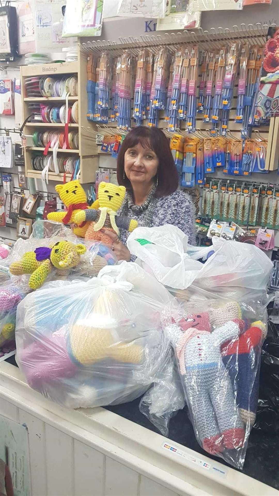 Sue Vallis with some of the bears dropped off at her shop, The Craft Basket (6368246)