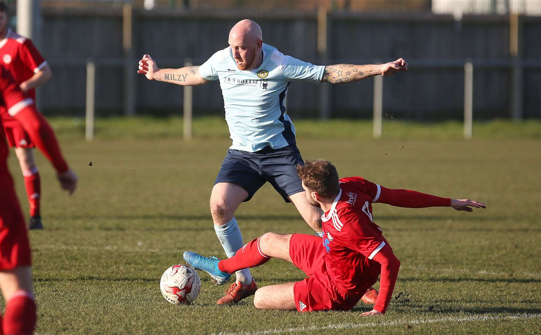 Haverhill Rovers v Stanway Rovers - Perry Moody puts in a lunging tackle.Pic - Richard Marsham/RMG Photography. (28691271)