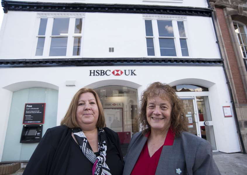 SUDBURY: HSBC reopening after fire 'HSBC, 46 Market Hill, Sudbury 'First look inside and out of HSBC which is reopening after the fire which ripped through Sudbury town centre in September 2015'Lesley Wilson (dark suit) Retail branch manager.'Sally Roscoe - senior clerk.'Picture Mark Westley ANL-161018-225431009