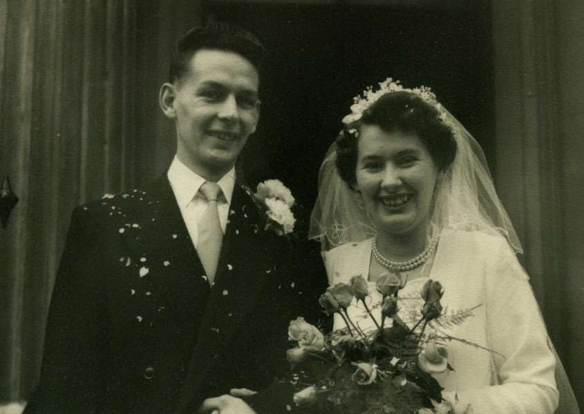 Paul and Pat Brewer on their wedding day