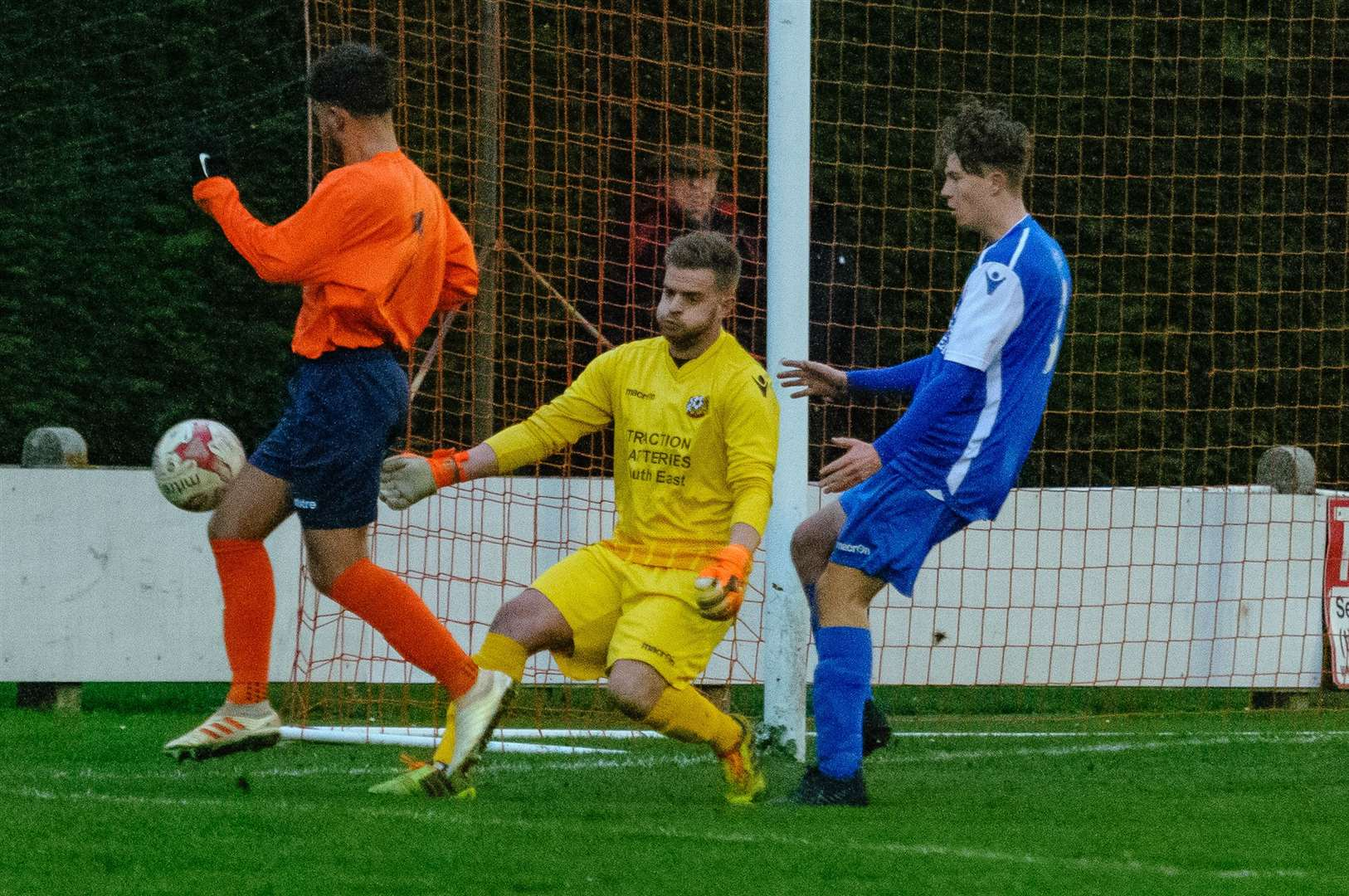 Football action from Diss Town v Cornard United - Cornard Goal Keeper Matthew Grove..Picture by Mark Bullimore Photography. (9461773)