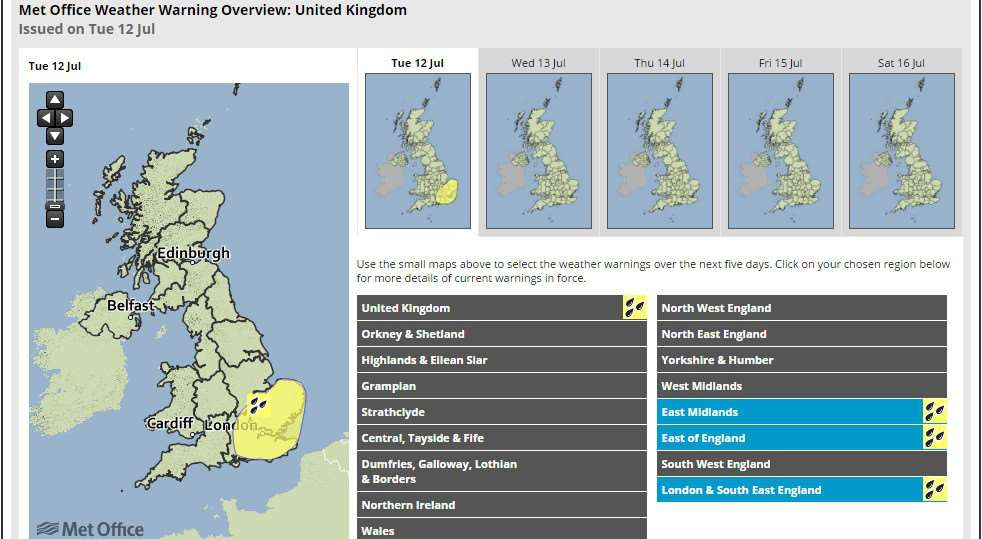A yellow weather warning for rain has been issued this afternoon by the Met Office