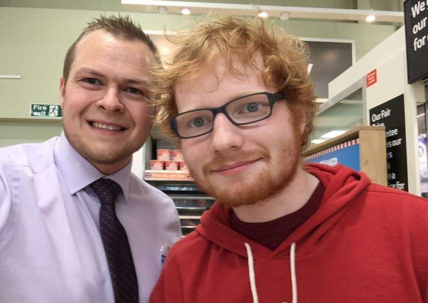 Lead Store Manager at Diss Tesco Dan James got a snap with Framlingham singer/songwriter Ed Sheeran. ANL-150724-115508001