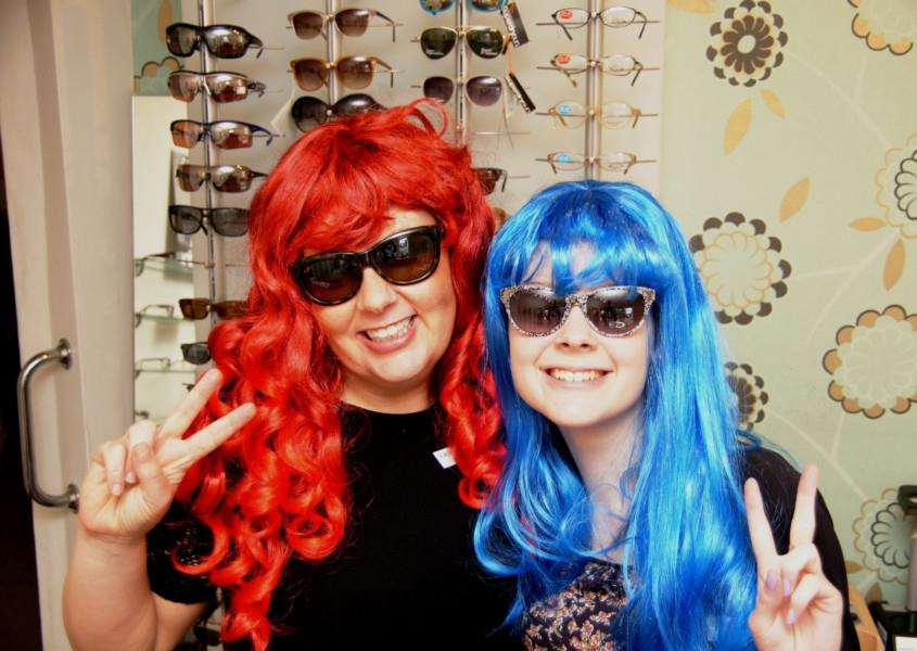 Staff at Wardale Williams opticians are ready to take part in Wig Wednesday ANL-150519-102551001