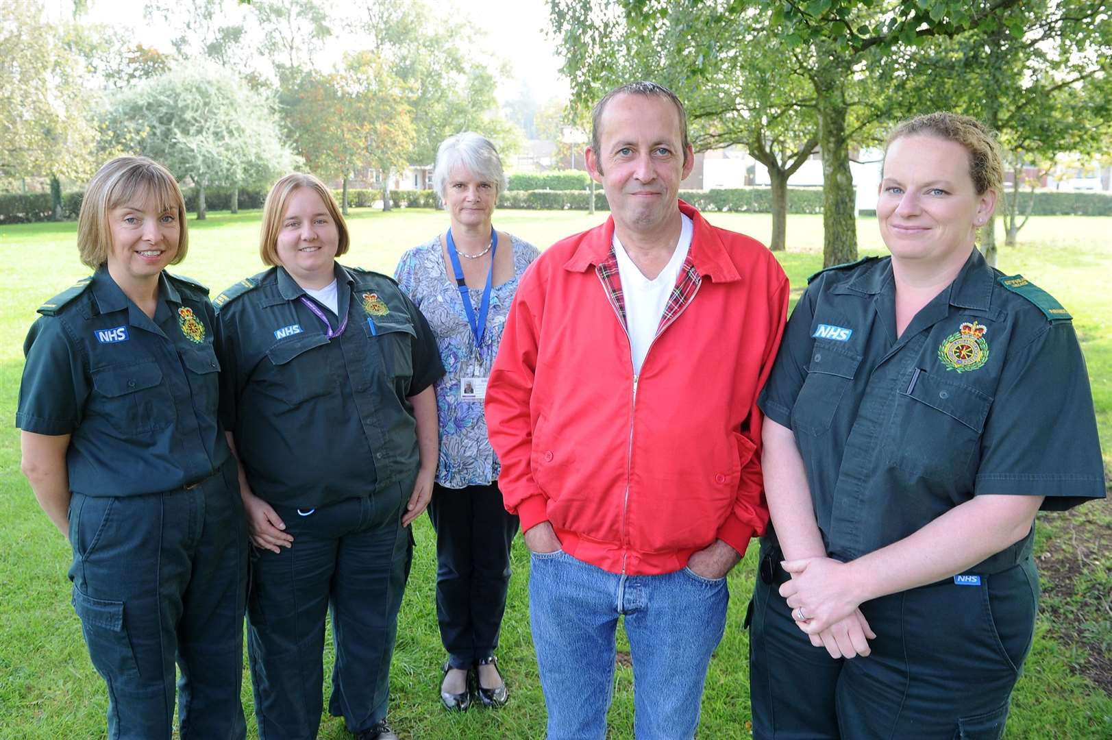 Paramedics returned to meet cardiac arrest survivor Richard Coxall in 2014, one year on from his brush with death. Pictured: Lisa Murkin (Paramedic), Frances Sewell (Emergency Medical Technician), Helen Wrigley (Occupational Therapist), Richard Coxall and Louise O'Connor (Paramedic).