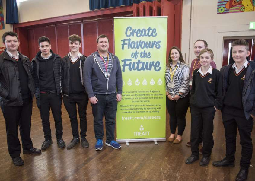 An organisation which works to connect students to potential employers is staging a special event at King Edward VI School in Bury St Edmunds.'Form the Future is staging the careers carousel at the Grove Road School for year 10 pupils.'Treatt Luke Mardellis and Ben Nolan Applications, and Lottie Kent Apprentice with Y10 students.'Picture Mark Westley