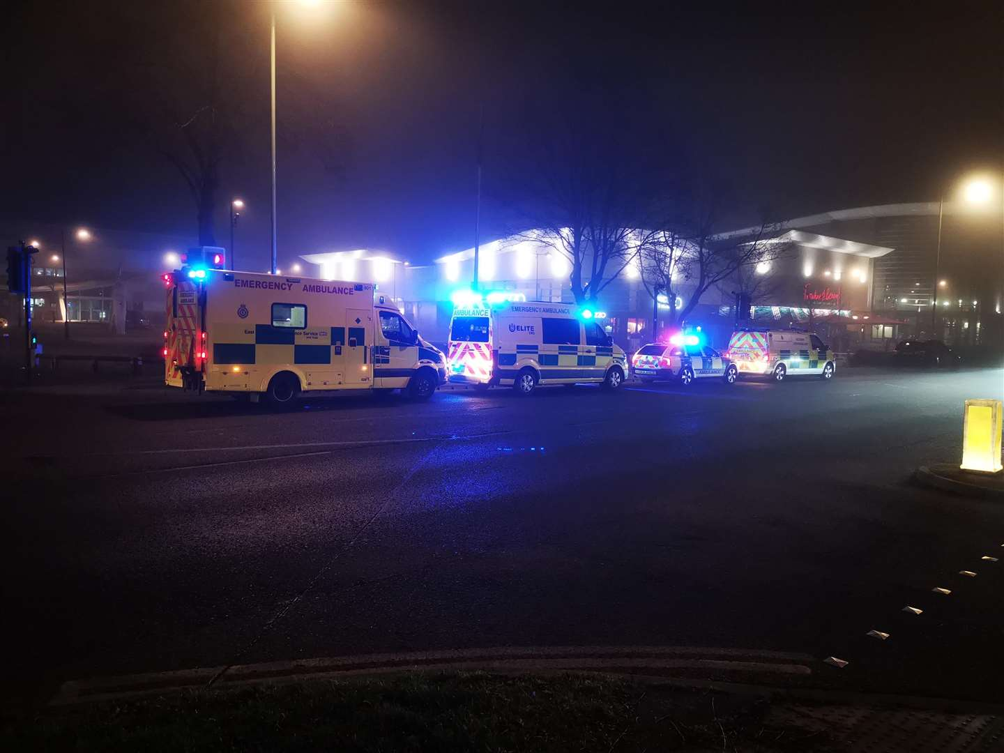 Ambulances outside Frankie & Benny's in Haverhill during the incident. Picture by Aaron Luccarini.
