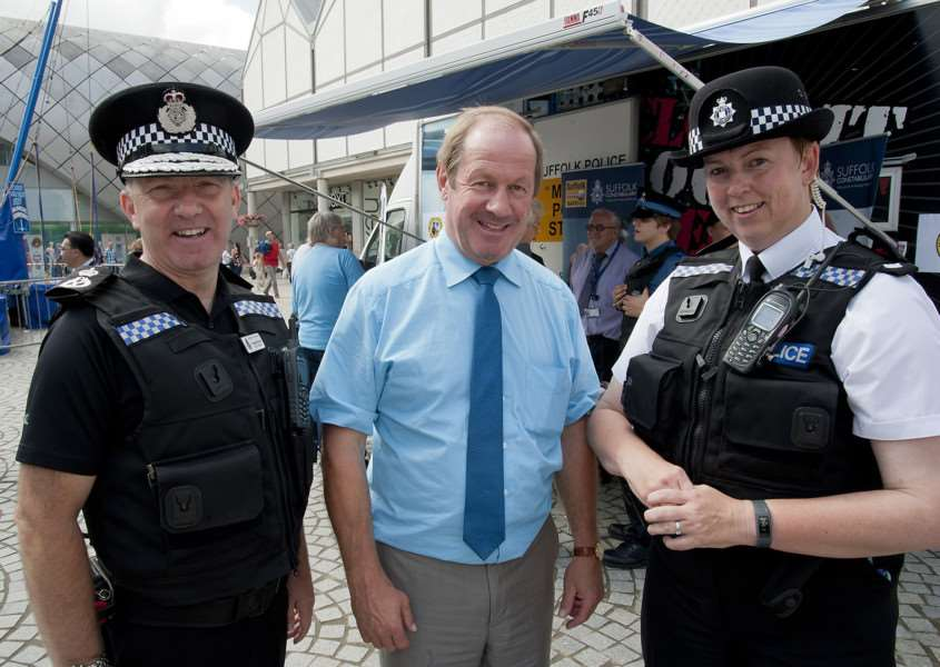 Mark Westley Photography'Chief Constable Douglas Paxton with PCC Tim Passmore and Insp Jane Hetzog. ANL-140608-192553009