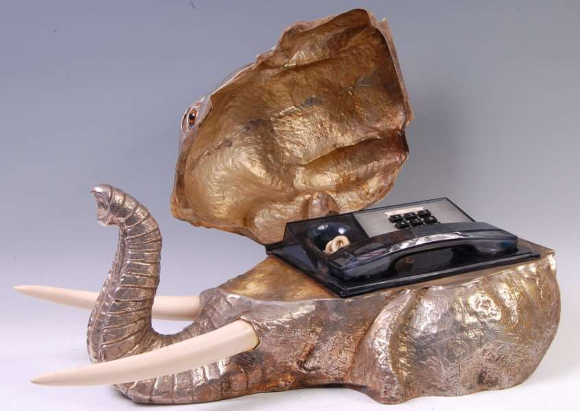 A phone in an elephant's head said to have featured in Waynes World is being auctioned by Lacy, Scott and Knight