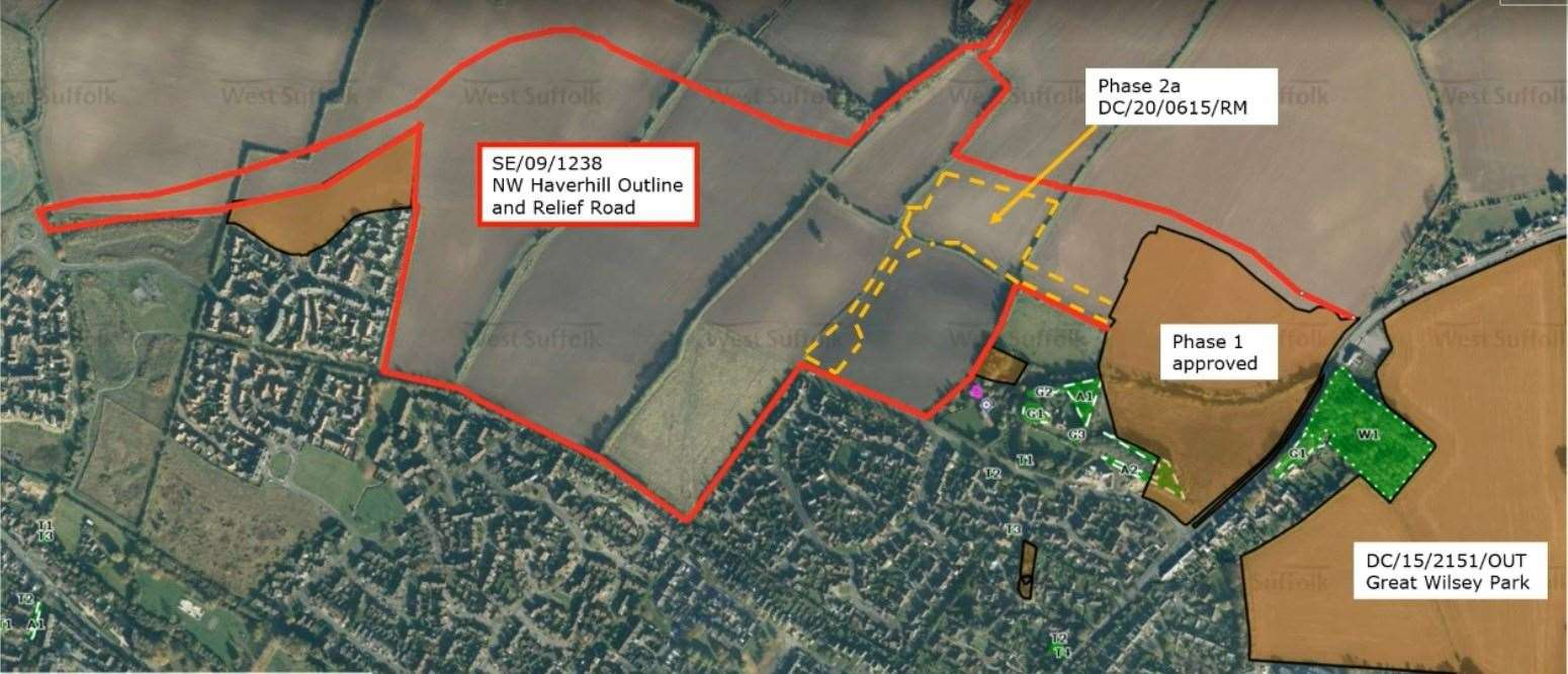 The layout of the Persimmon Homes development north west of Haverhill. Submitted image