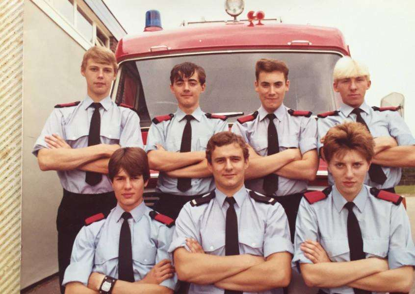 Josephine Reynolds, Britain's first fire woman, with her Norfolk colleagues in the early 1980s