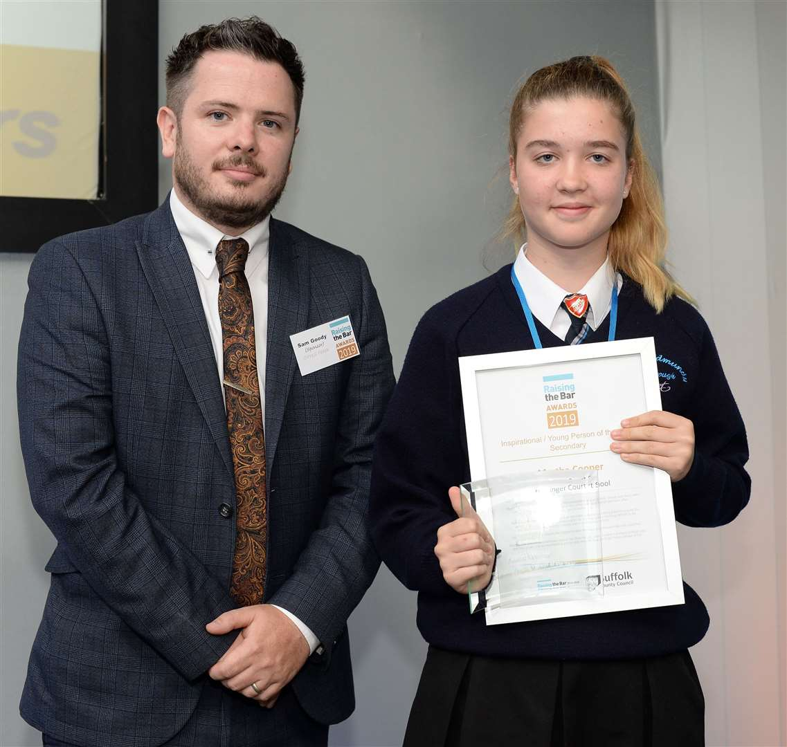 Martha Cooper From Horringer Court Middle School in Bury St Edmunds who won the Inspirational Young Person of the Year award