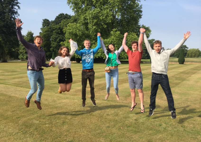 Sixth Form pupils at Culford School celebrate their A-level results ANL-160818-104031001